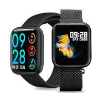 Relogio Smartwatch Inteligente P80 40mm + Pulseira Metal Extra - Preto - RoHs