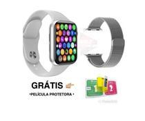 Relogio Smartwatch Inteligente W26 + Pulseira Metal +Pelicula - Branco - W26S