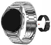 Relógio Smartwatch L13 Pro Com Pulseira De Gomo Metal + Pulseira De Silicone Preta -