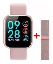 Relógio Smartwatch P70 2 Pulseiras Rosa -