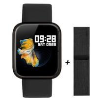 Relógio Smartwatch P70 Preto Monitor Cardíaco Pressão Arterial Sono Passos Android Ios -