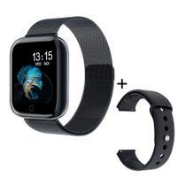 Relógio Smartwatch P80 38mm Inteligente + Pulseira Extra De Aço Android iOS - Preto - Smart Bracelet
