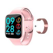 Relógio Smartwatch P80 38mm Inteligente + Pulseira Extra De Aço Android iOS - Rosa - Smart Bracelet
