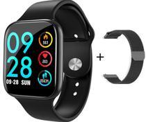 Relógio Smartwatch P80 Com 2 Pulseiras (aço/silicone) Pretas - Sport Bracelet