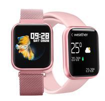 Relógio Smartwatch P80 Touch Screen Monitor Cardíaco Pressão Arterial Sono Passos Android Ios - Smart Bracelet