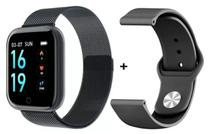 Relógio Smartwatch T80 2 Pulseiras Metal e Silicone Preto - Mundial Premium