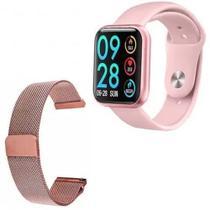 Relógio Smartwatch T80 2pulseiras+fone Sem Fio Rosa+película -