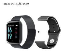 Relógio Smartwatch T80 Bluetooth Pressão Arterial Frequência Cardíaca Oxigênio no sangue PRETO -