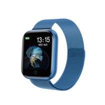 Relógio Smartwatch T80s Bluetooth Pressão Arterial Frequência Cardíaca Oxigênio Azul -