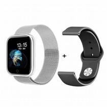 Relógio Smartwatch T80s Bluetooth Pressão Arterial Frequência Cardíaca Oxigênio Prata -
