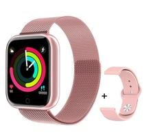 Relógio Smartwatch T80s Pro C/2 Pulseiras Pressao e Termômetro Rosa -