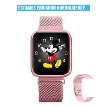 Relógio Smartwatch T80s Rose Feminino 2 Pulseiras Com Nfe - Nexus