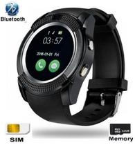 relógio smartwatch V8 original touch bluetooth gear chip - preta - Smart watch