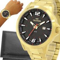 Relógio Technos Masculino Dourado Preto Prova d'água com garantia de 1 ano com carteira -