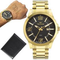 Relógio Technos Masculino Golf Banhado Ouro 18k Dourado + Brinde Carteira -