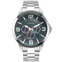 Relógio technos masculino racer prata 6p79bm/1a -