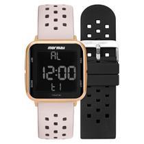 Relógio Unissex Mormaii Digital MO6600AJ/T8T 38mm Pulseira Silicone Preta e Offwhite -