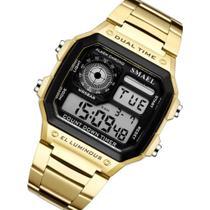 Relógio Unissex smael Digital Esportivo retro dourado -