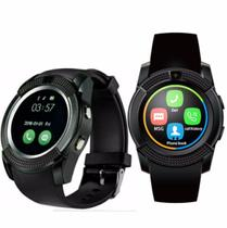 Relógio V8 Bluetooth Smartwatch Gear Chip  Iphone E Android Preto - Morgadosp