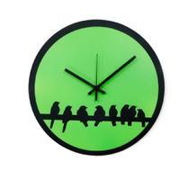 Relógio Verde com vários passarinhos decoração Sala Cozinha - Az Design