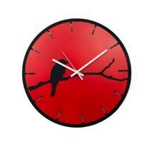 Relógio vermelho com passarinho decoração Sala Cozinha - Az Design