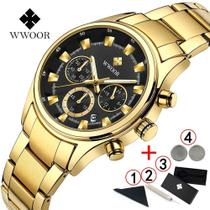 Relógio Wwoor Ouro Luxo Masculino A Prova Dágua M3 -