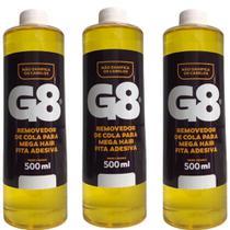 Removedor e tira excesso megahair fita adesiva kit 3x500ml - G8