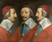Retrato Triplo do Cardeal Richelieu - Philippe de Champaigne - 30x37 - Tela Canvas Para Quadro - Santhatela