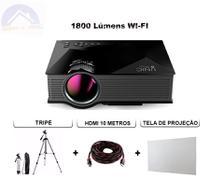 Retro Projetor Datashow Tela 16:9 Telão Hdmi Tripé Cinem Aula HD Wifi 1800 Lumens - Unic