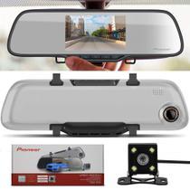 Retrovisor Câmera Automotiva Pioneer Dashcam VREC-200CH Tela LCD Micro SD + Câmera de Ré Colorida -