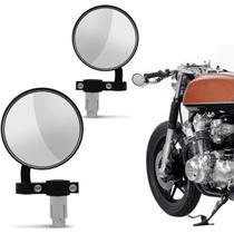 Retrovisor Moto Redondo Ponta De Guidão Custom Cafe Racer Universal Preto Com Espelho Par -