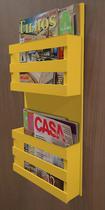 Revisteiro de Parede Porta Revistas Livros - Amarelo Laca - Formalivre