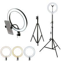 Ring Light 26cm + Tripé 2.1m Selfie Led Kit Completo Live Foto Pro P/ Celular TL-RL-01 Trevalla -