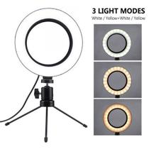 Ring Light Anel De Luz Iluminador Led 16CM + Mini Tripé Usb Para Fotos Selfie Vídeos - Lxshop