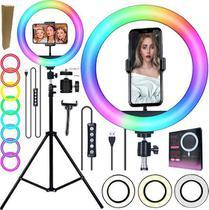 Ring Light Grande Anel Led Luz Iluminador Rgb Colorido Hing Light 26cm Universal Celular Iphone Android + Tripé 2,10m - Riosul Store