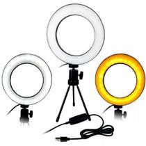 Ring light iluminador 16cm de mesa c/ tripé maquiagem selfie video foto - Master