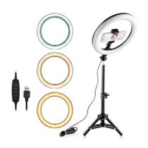 Ring Light Iluminador Anel Luz 26cm 64 led C/tripé 50cm Foto - Mbtech