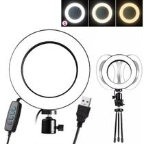 Ring Light Iluminador De Led Mini Tripe 8' Usb 20cm 6500k - Nm