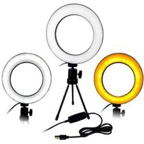 Ring Light Iluminador Led 16Cm + Mini Tripé - Sem
