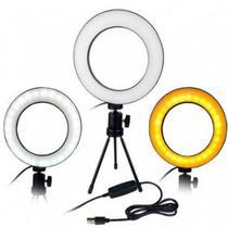 Ring Light Iluminador Led 16Cm + Mini Tripé Usb Para Fotos Selfie Vídeos - Lx Shop