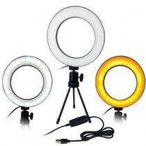 Ring Light Iluminador Led 16Cm + Mini Tripé Usb Para Fotos Selfie Vídeos - Lxshop
