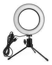 Ring Light Iluminador Led 16Cm Tripé 15cm / Ring Light e Tripé - Import Wv