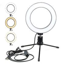 Ring Light Iluminador Led Anel 16CM com + Mini Tripé Usb Para Fotos Selfie Vídeos - Lx Shop