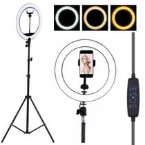 Ring Light Iluminador Led Usb Dimmer 26Cm + Tripé Para Fotos Selfie Vídeos Youtube Maquiagem - Lx Shop