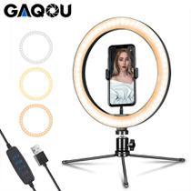 Ring Light Iluminador Luz Anel Led 26cm Profissional 3 Cores Suporte Celular + Mini Tripé Selfie Foto Vídeos Maquiagem - Leffa Shop