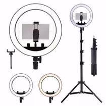 Ring light iluminador maquiagem video foto 26cm 10pol com tripé 1,5m - Master
