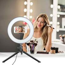 Ring Light Iluminador Selfie Makeup + Tripé De Mesa Luz Led 6 polegadas - Dets
