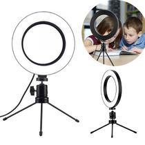 Ring Light Iluminador Selfie Makeup + Tripé De Mesa Luz Led - Skymagic