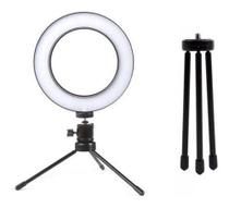 Ring Light Led Mesa Iluminador Pequena Tripé 6 Polegada 16cm - Zem