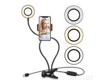 Ring Light Luminária Led Mesa Suporte Celular Selfie Abajur -
